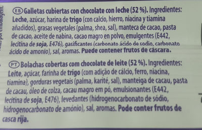 Galletas Cubiertas Con Chocolate Con Leche (52%). - Ingredients
