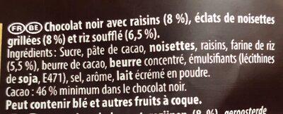 Éclats bruts noisettes & raisins - Ingredients - fr