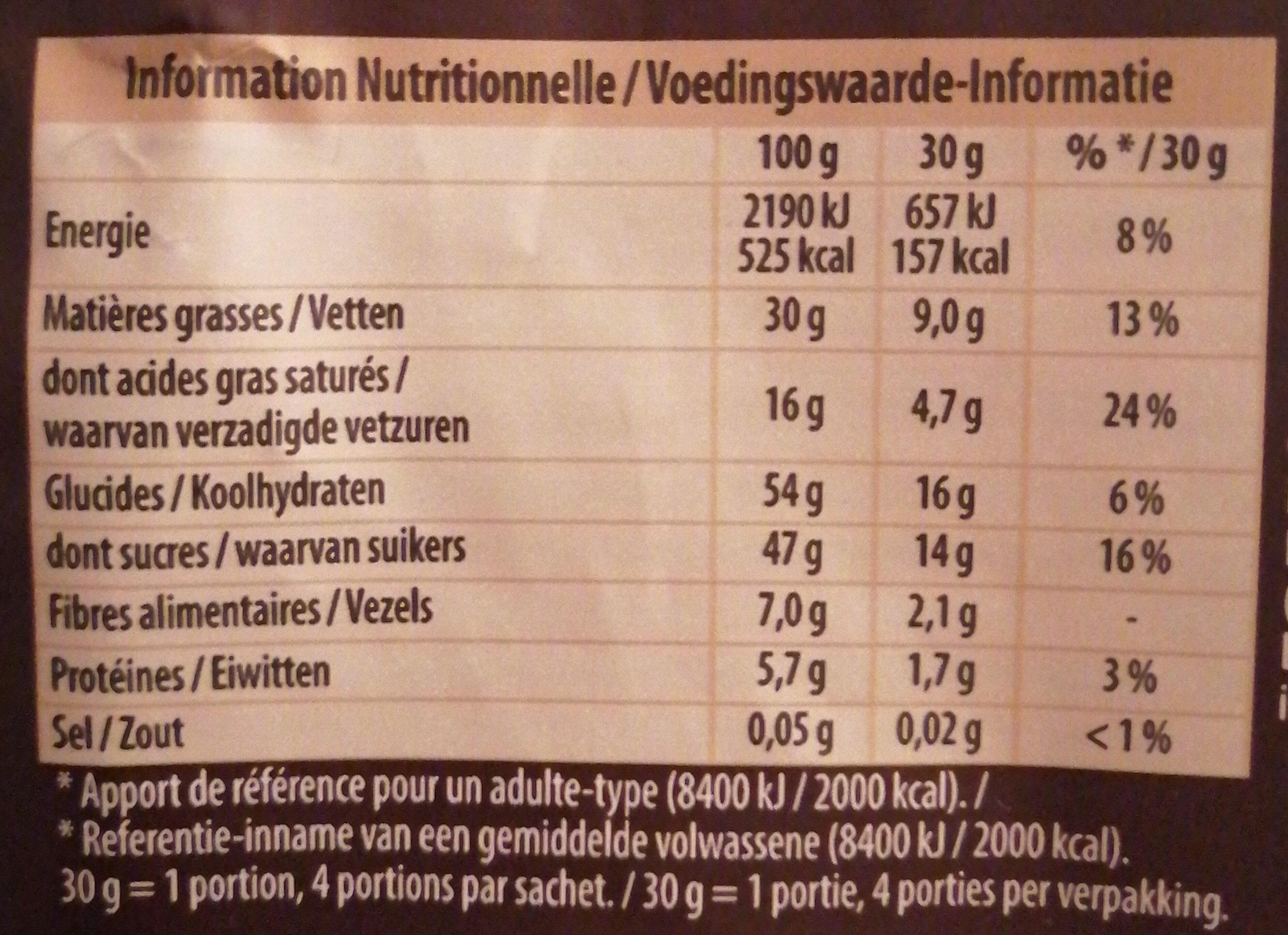 Éclats bruts noisettes & raisins - Nutrition facts - fr