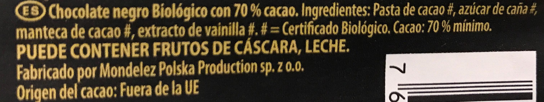 Chocolat noir bio 70% - Ingredientes - fr
