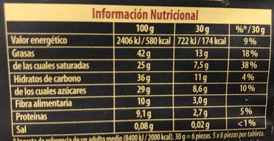 Chocolat noir bio 70% - Informació nutricional