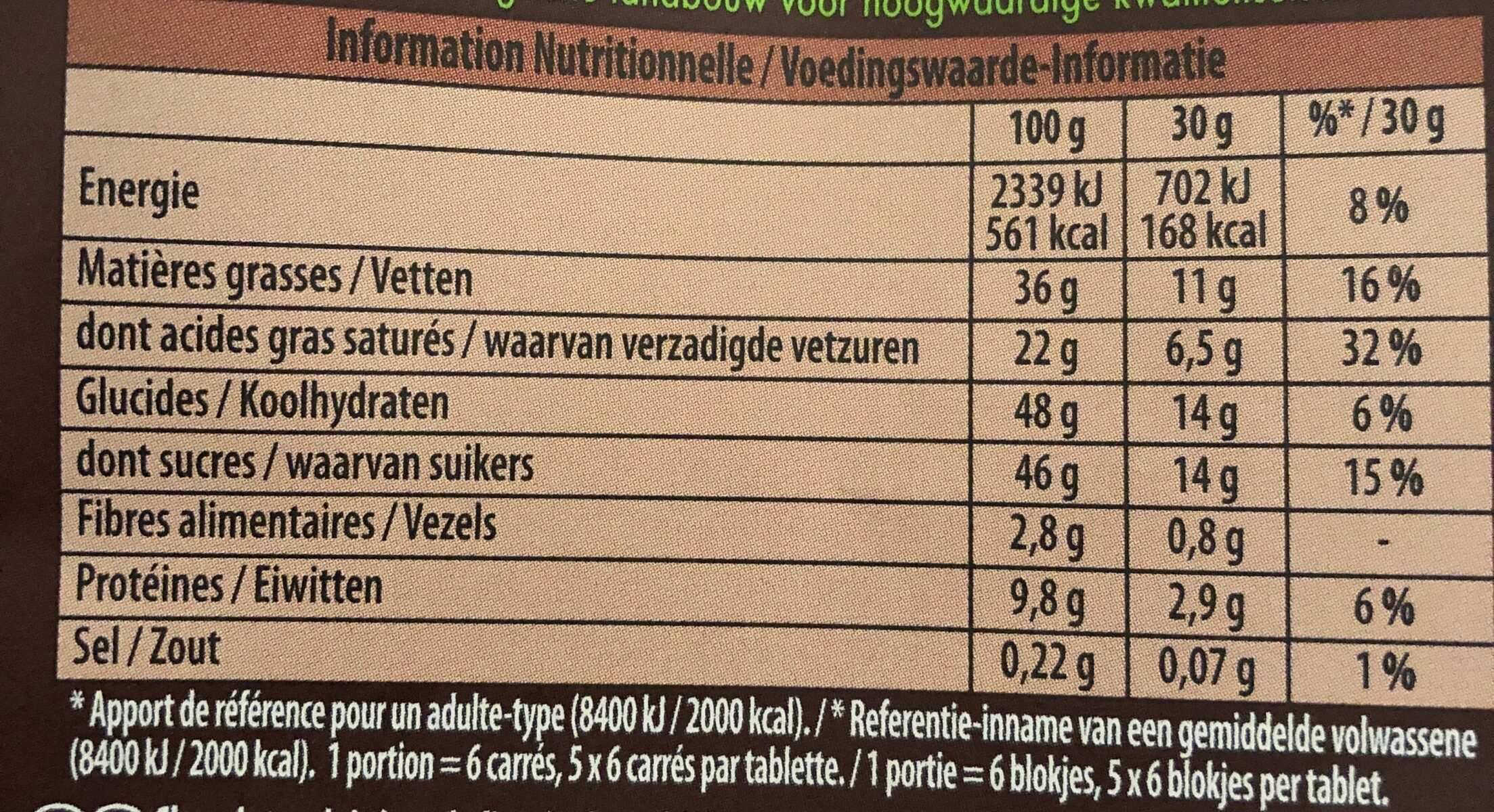 BIO LAIT - Valori nutrizionali - fr