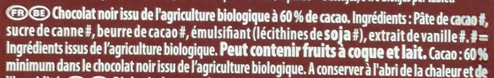 Chocolat noir Côte d'Or Bio - Ingrédients - fr