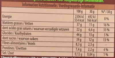 Chocolat noir Côte d'Or Bio - Informations nutritionnelles - fr