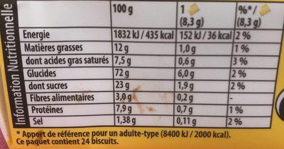 Véritable petit beurre - Informations nutritionnelles