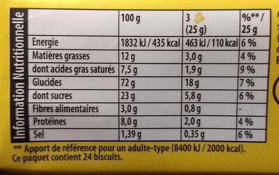Véritable petit beurre - Nährwertangaben - fr