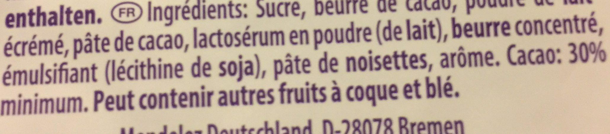 Milka Schmunzelhase Alpenmilch 175G - Ingredients - fr