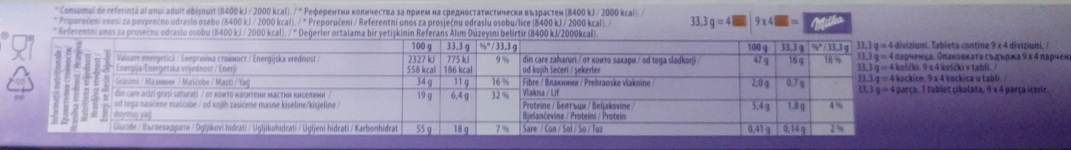 Milka mmmax choco&biscuit - Informations nutritionnelles