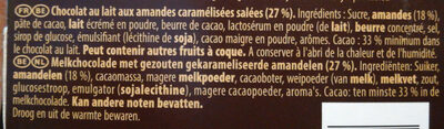 Bloc lait amandes caramélisées pointe de sel - Ingredients