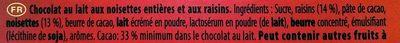 Bloc Lait raisins noisettes entières - Ingredients