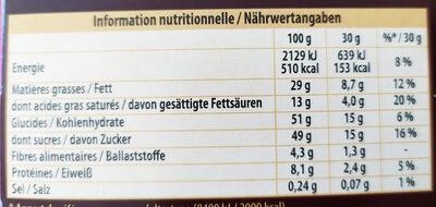 Bloc Lait raisins noisettes entières - Informations nutritionnelles - fr