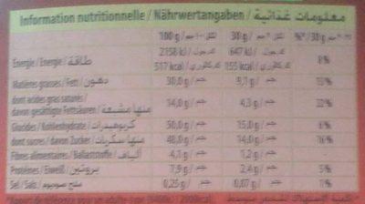 Bloc Lait raisins noisettes entières - Nutrition facts