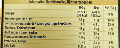 Lait noisettes entières - Nutrition facts - fr