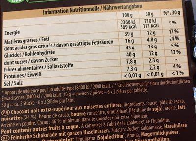 Noir noisettes entières - Ingredients