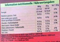 Bloc noir aux amandes entieres - Côte d'or - Nutrition facts