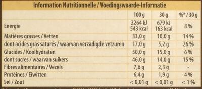 Noir Pistaches Caramélisées - Voedingswaarden