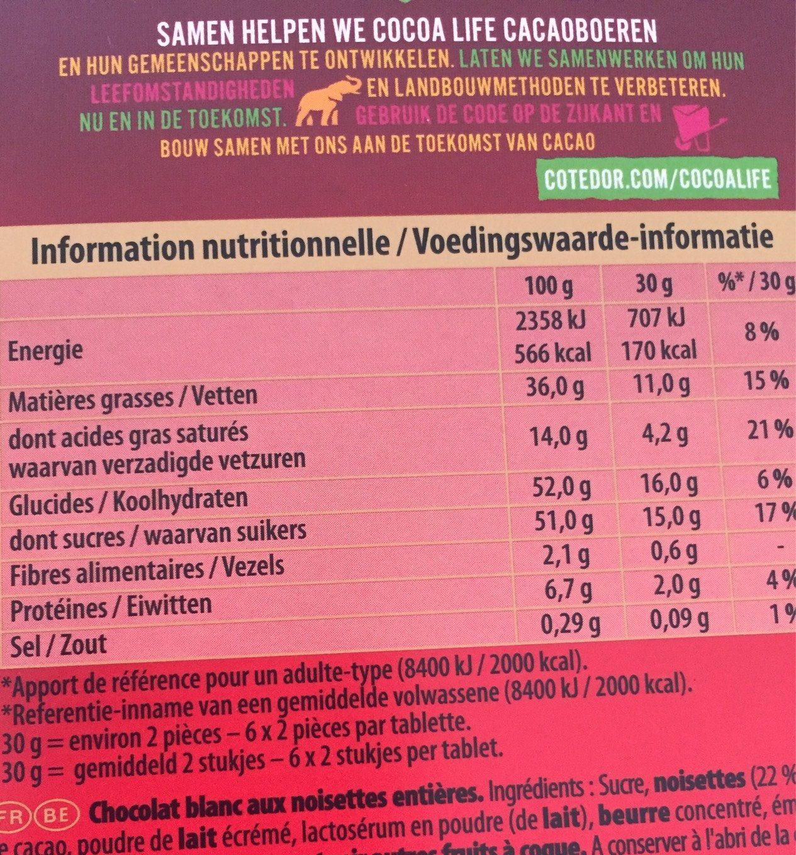 Bloc Blanc Noisettes Entières - Voedingswaarden