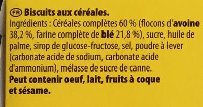 Biscuit Grany Céréales gourmandes & Croustillantes - Ingredients - fr