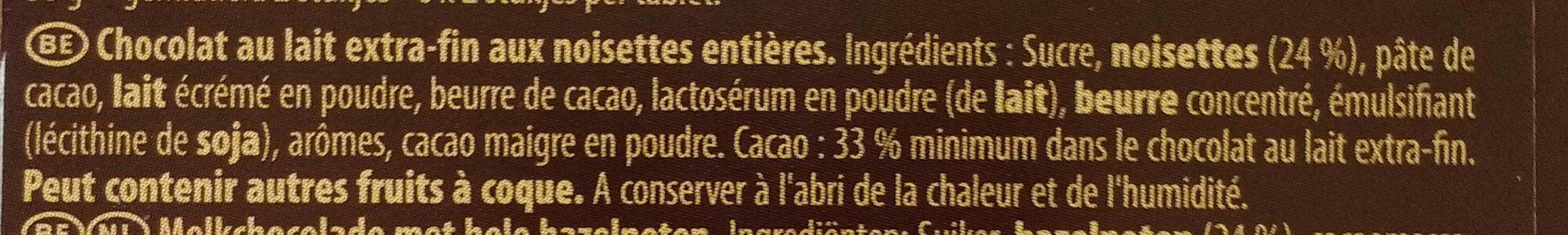 Bloc Lait Noisettes Entières 180G - Ingrediënten