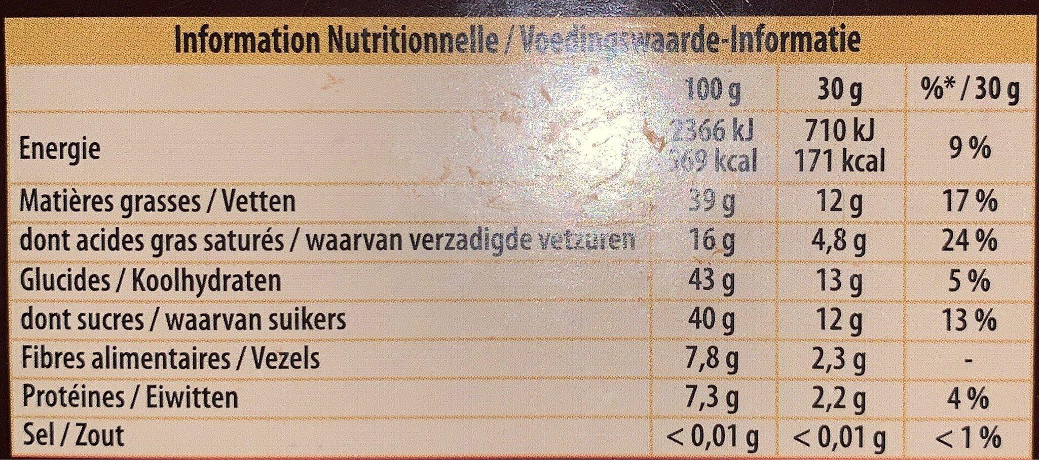 Bloc noir noisettes - Informations nutritionnelles - fr