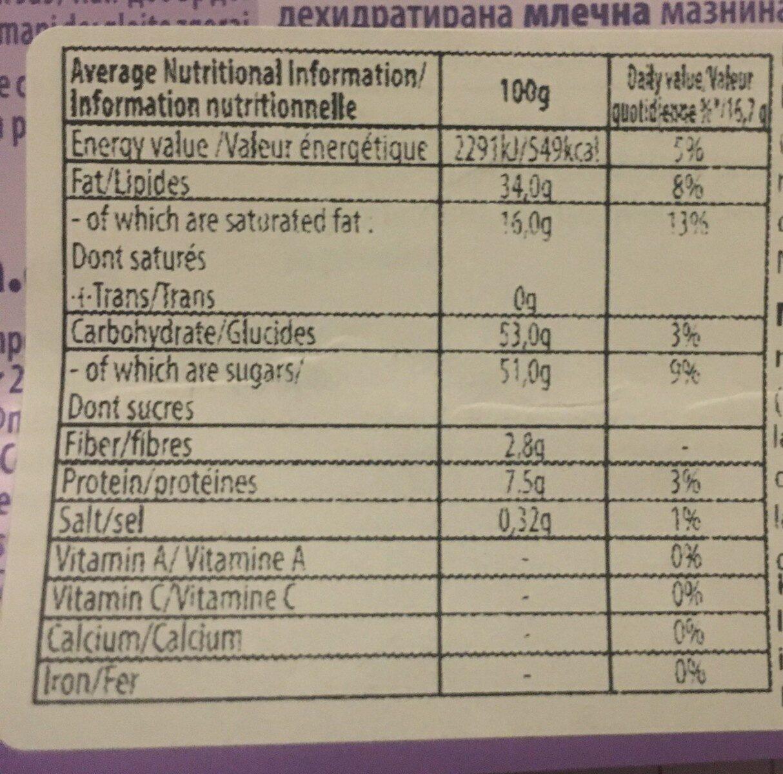 Milka noisette - Nutrition facts - fr