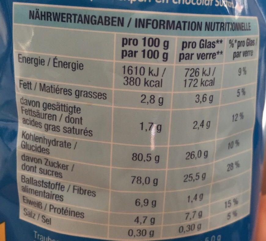 Suchard Express - Valori nutrizionali - fr