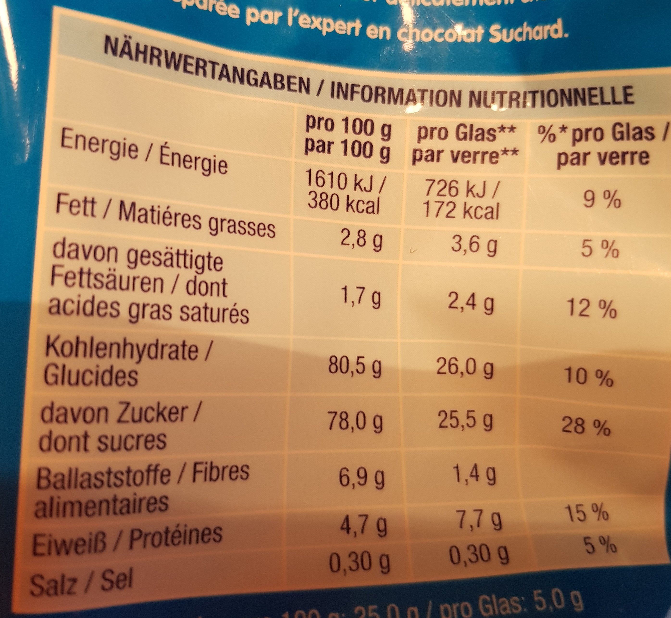 Suchard express - Nutrition facts - fr