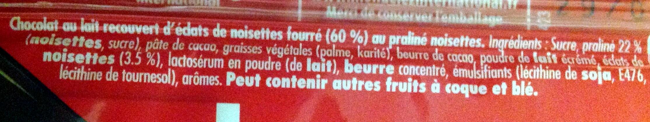 Rocher Lait Suchard - Ingrédients