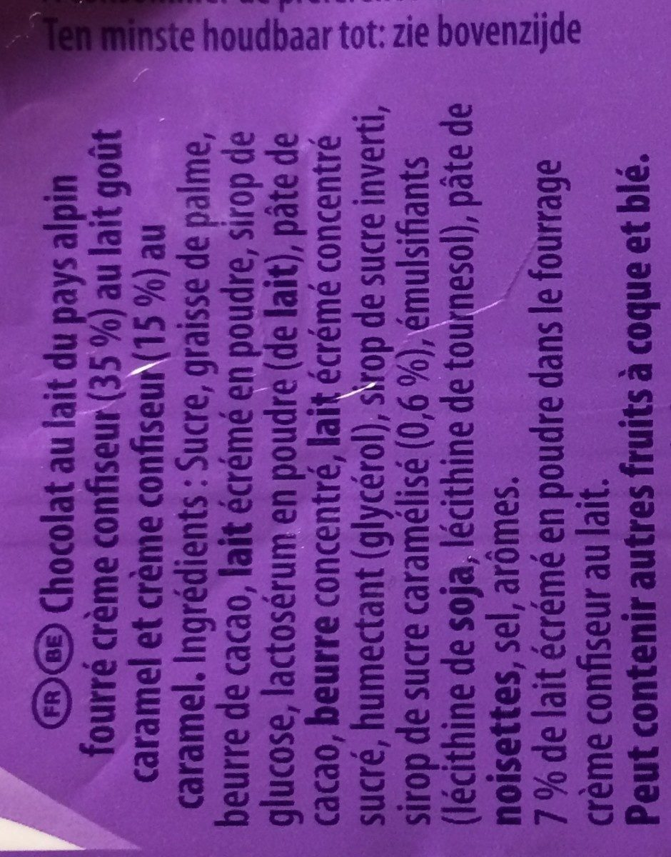 Milka Caramel - Ingredients