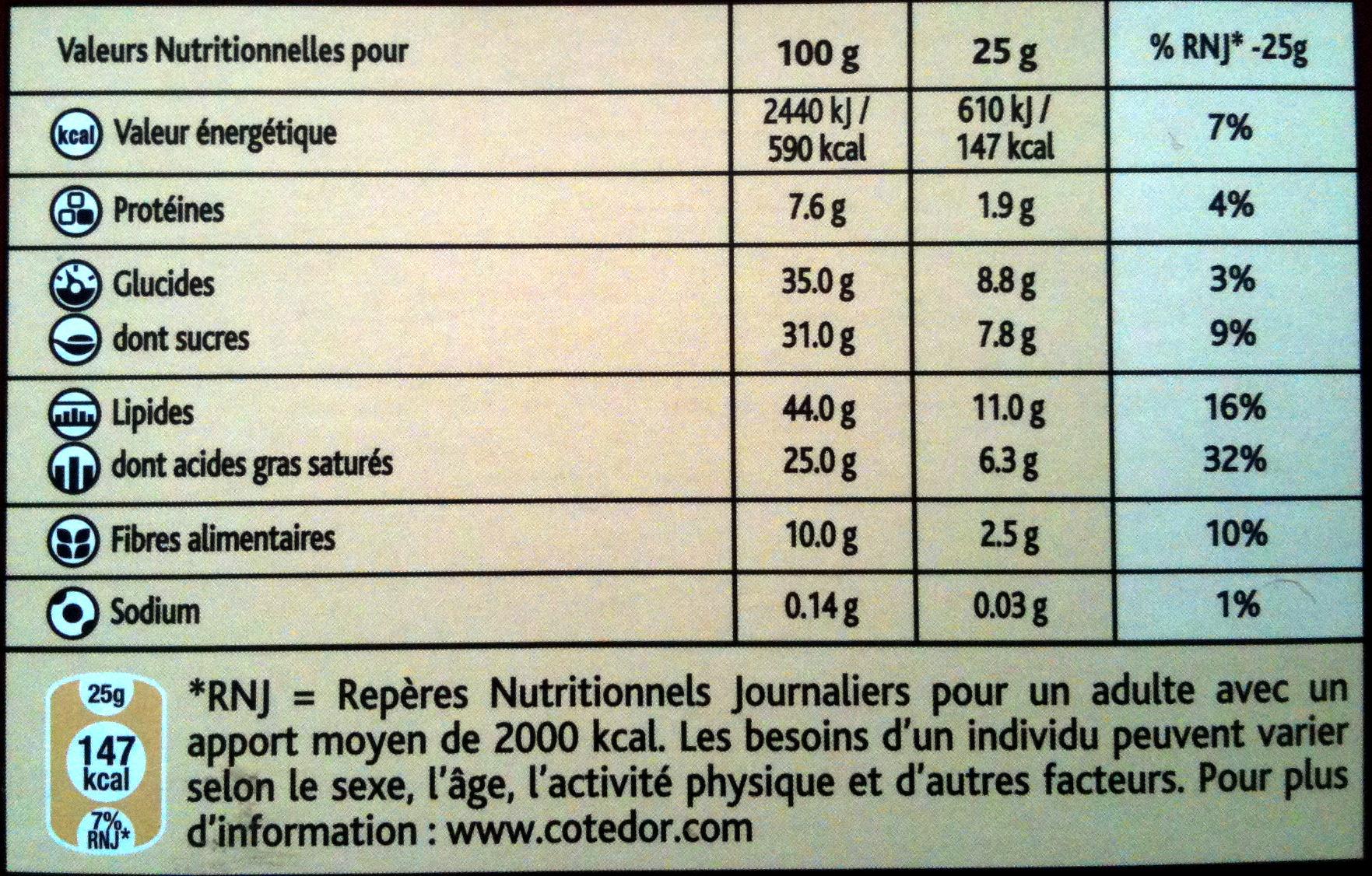 Pistache Noir 70% - Voedingswaarden