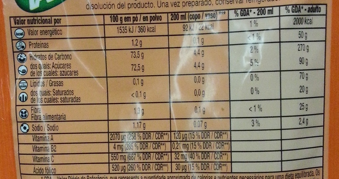 Tang (orange) - Nutrition facts