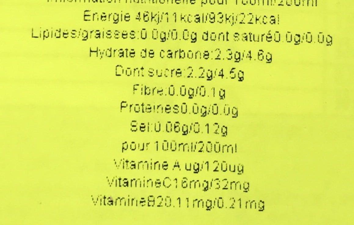 Sabor Ananás - Informations nutritionnelles