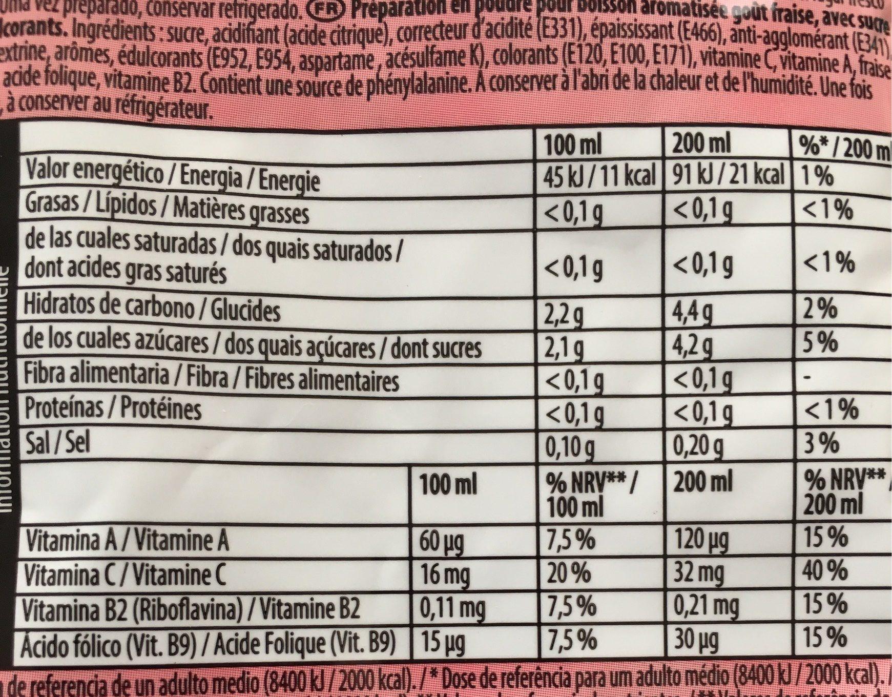 Sabor Morango Fresa - Informations nutritionnelles