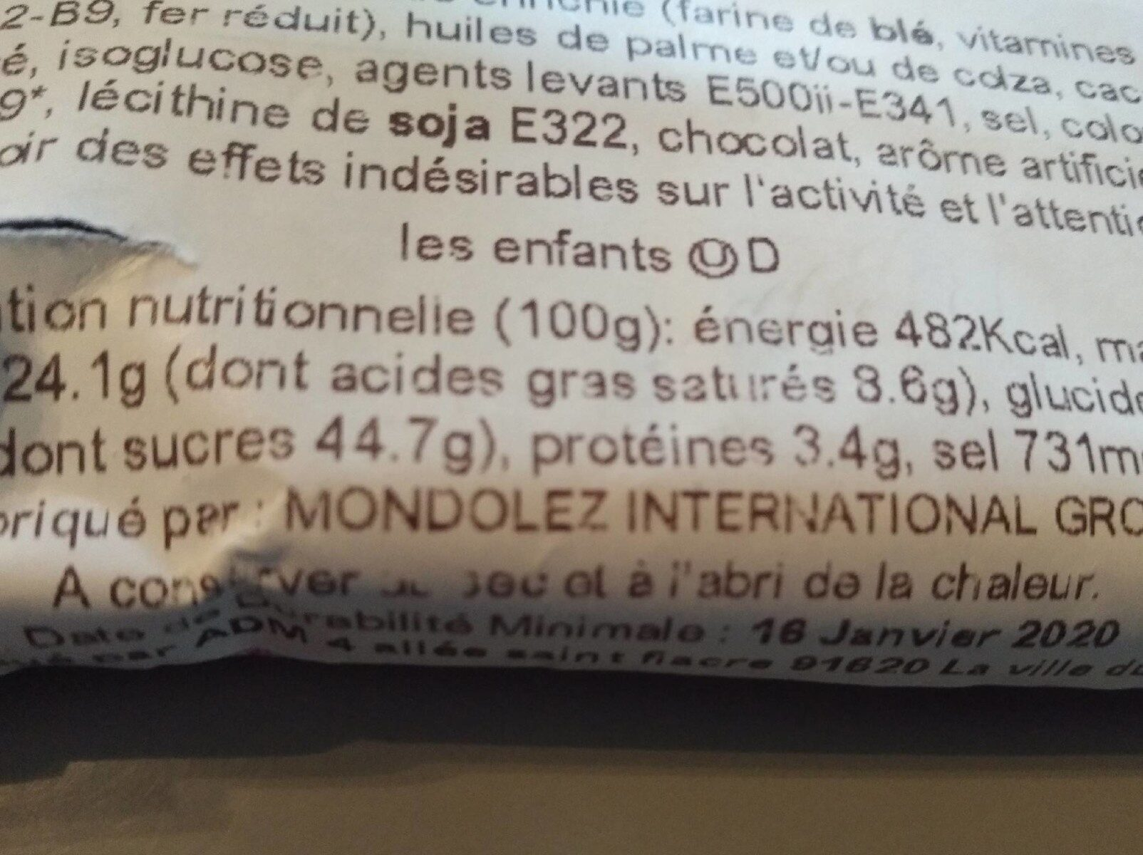 Oreo fraise - Voedingswaarden - fr