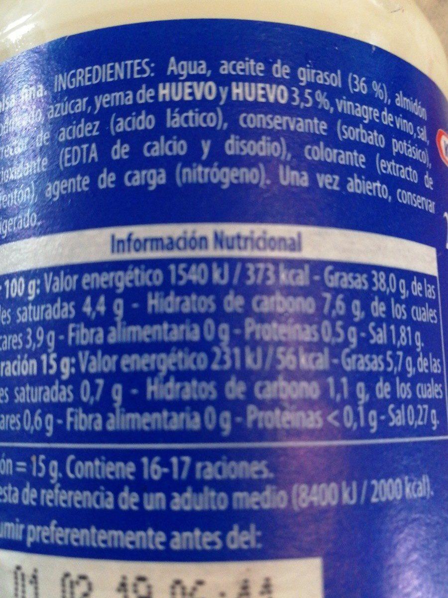 KRAFT MAYONESA - Ingredients - fr