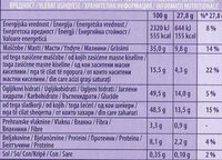 Whole Nuts Chocolate, 250g - Informations nutritionnelles - sl
