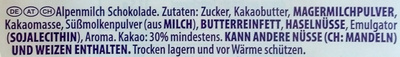 Milka Hase Alpenmilch - Ingrédients - de