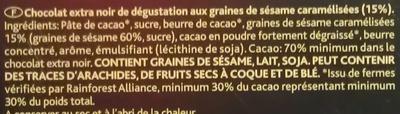Sésame noir 70% - Ingredients