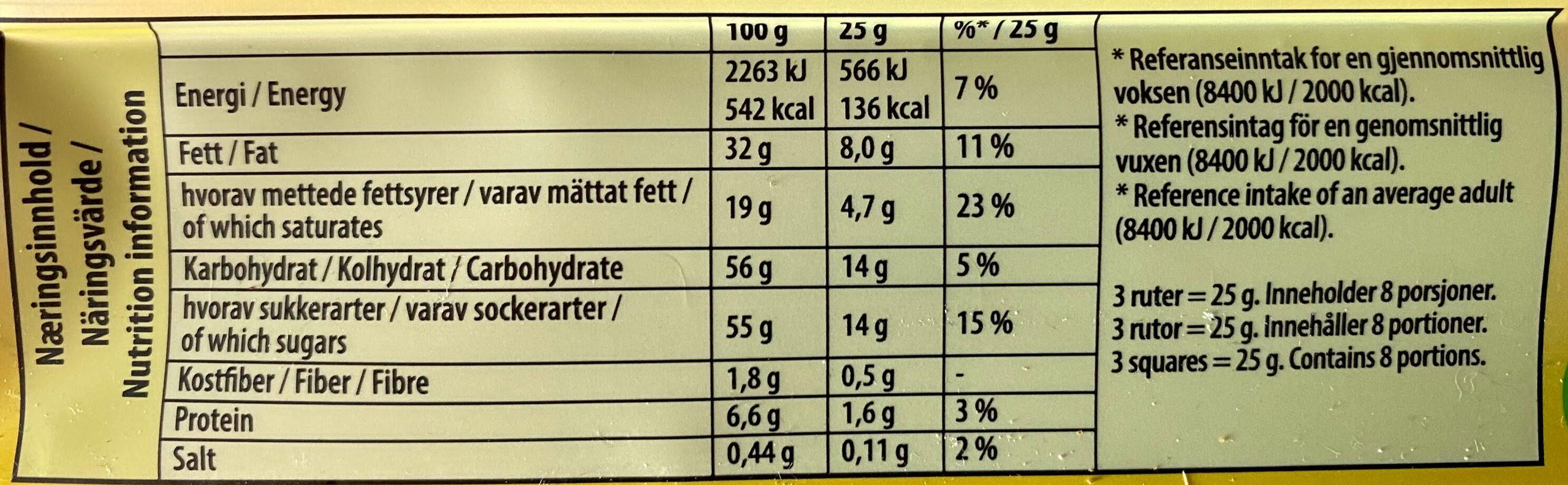 Freia Melkesjokolade med Daim - Nutrition facts - nb
