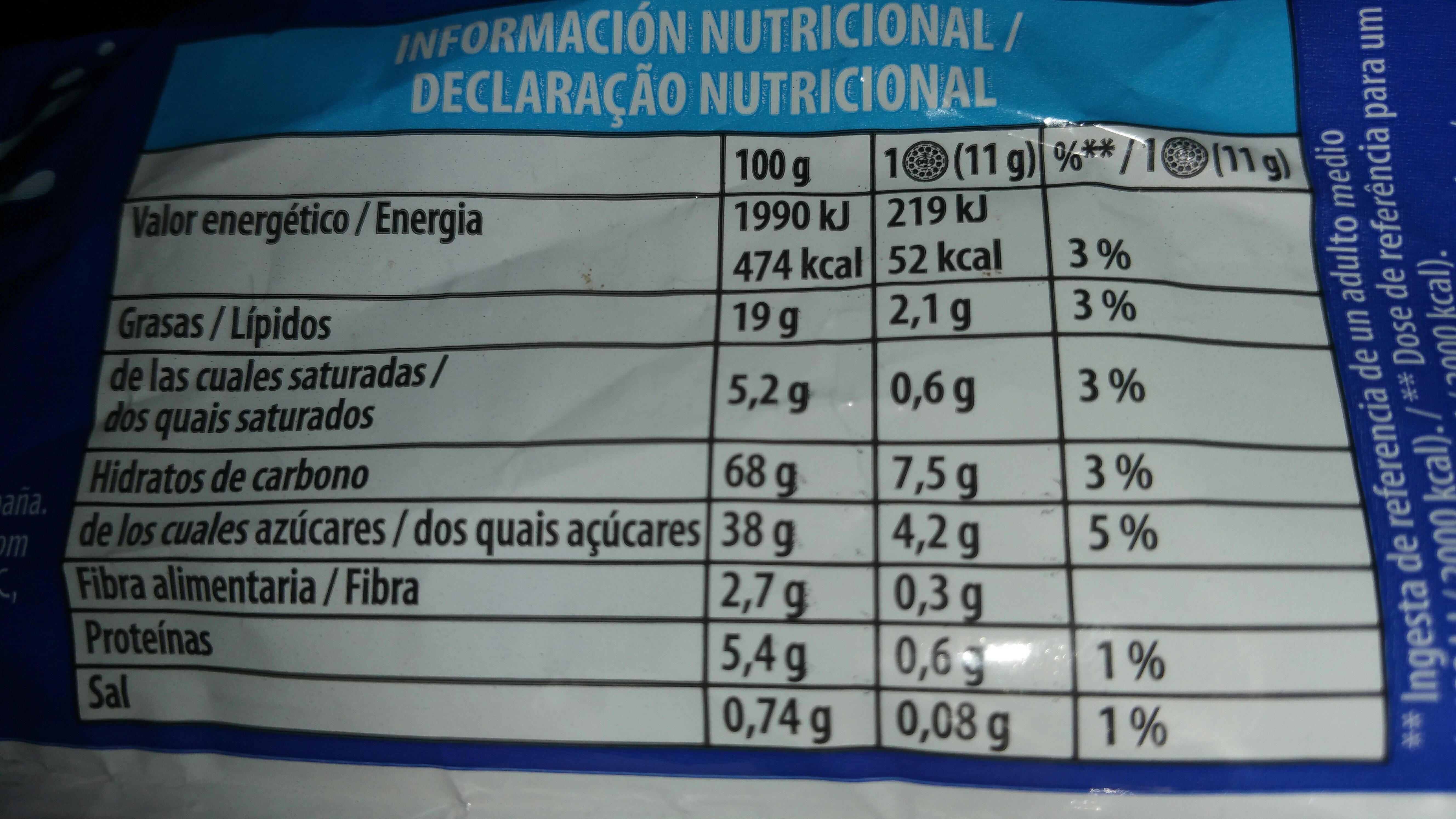 Galletas Oreo - Información nutricional