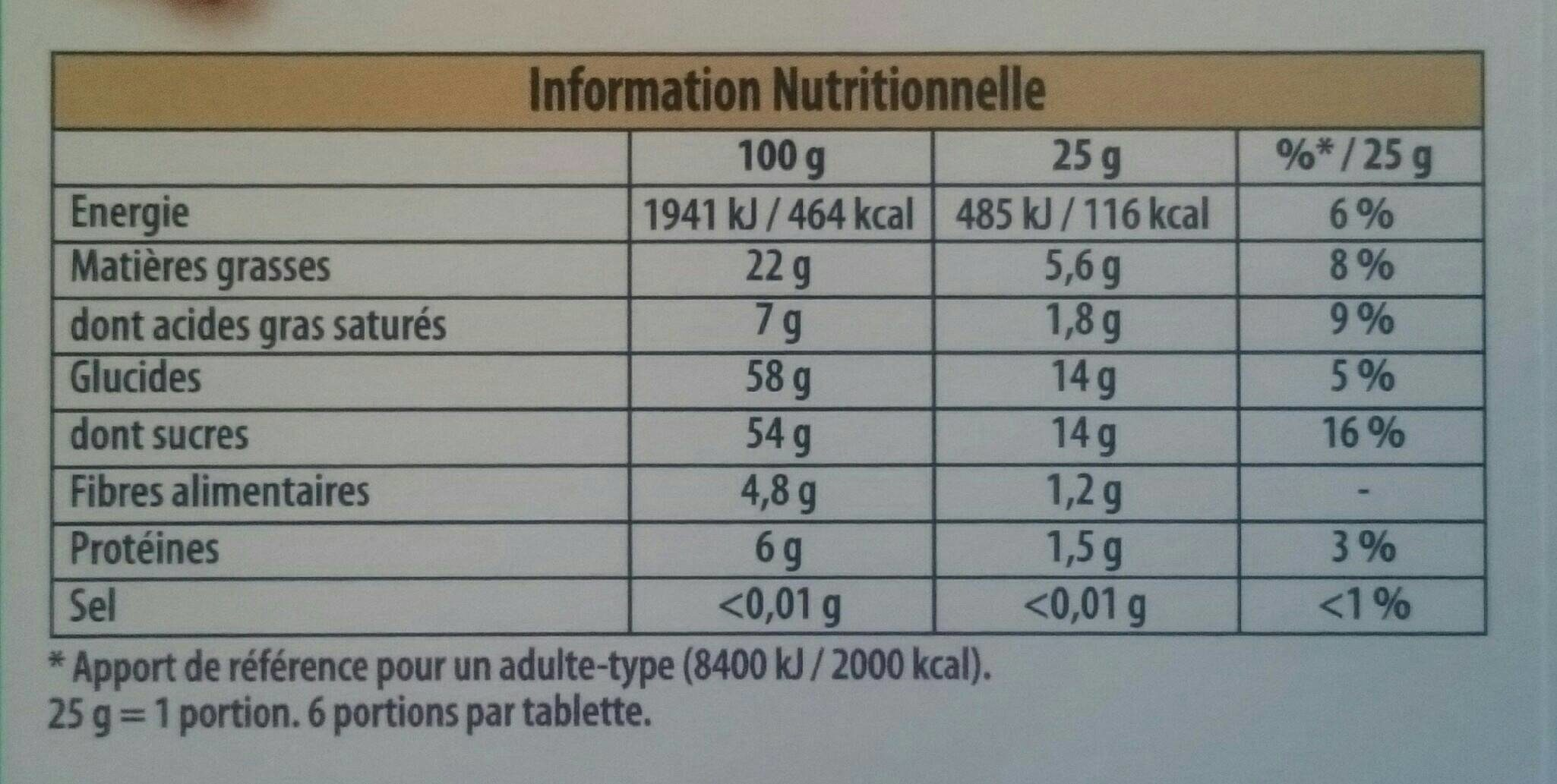 Chocolat noir fourré Pâte d'Amande - Nutrition facts - fr