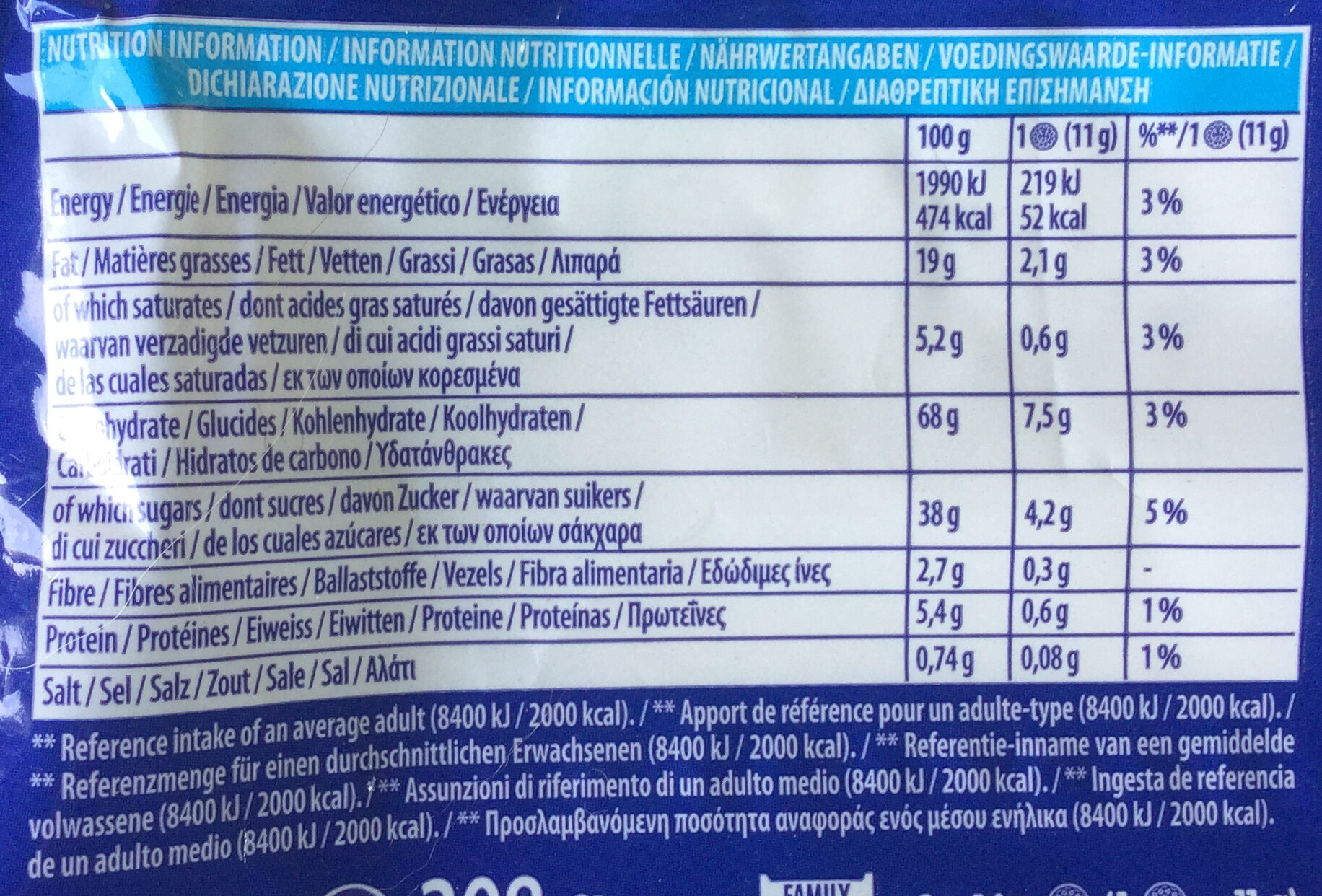 Oreo pacco famiglia (x2) - Nutrition facts