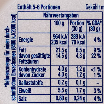 Philadelphia Doppelrahmstufe - Informazioni nutrizionali - de