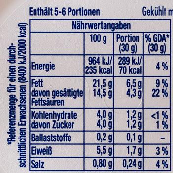 Philadelphia Doppelrahmstufe - Nutrition facts