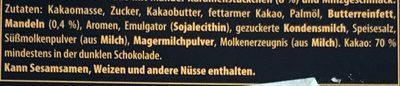 Zartbitter 70%, Minzgeschmack Crisp - Ingredients