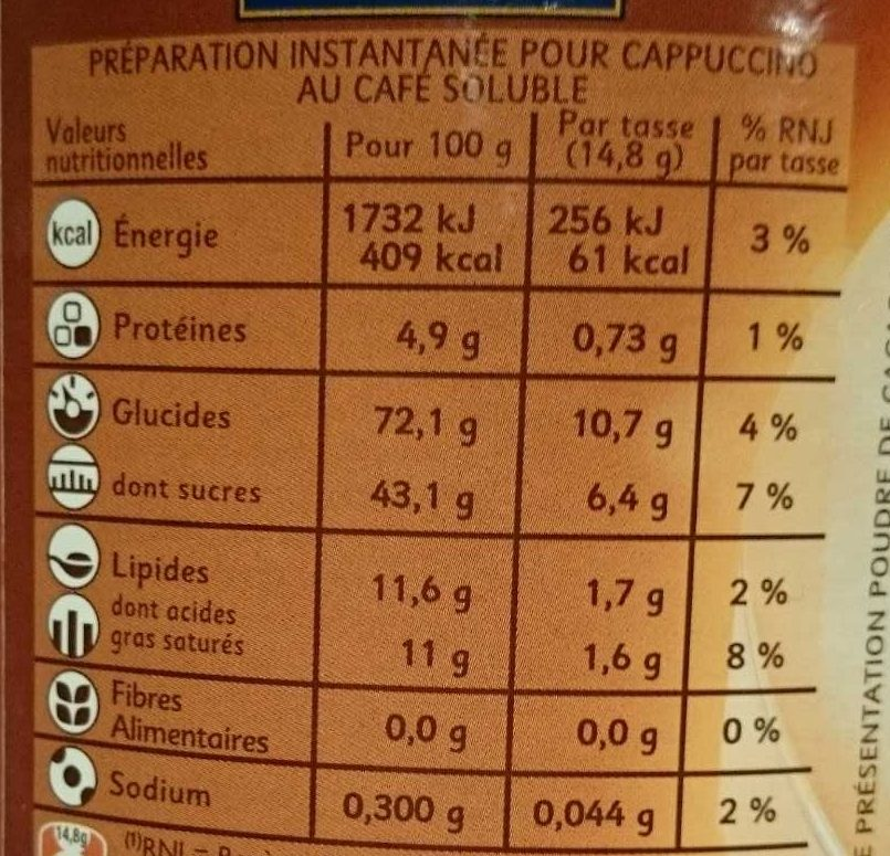 Cappuccino - Informations nutritionnelles - fr
