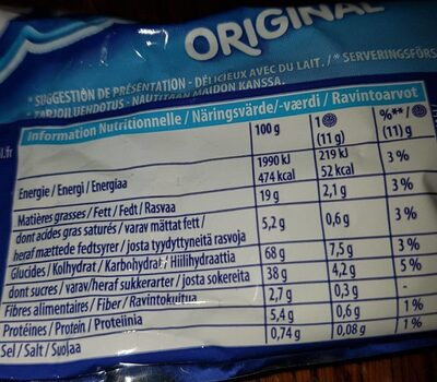 Oreo Original - Nutrition facts - en