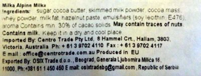 Milka Alpine Milk - Ingredients