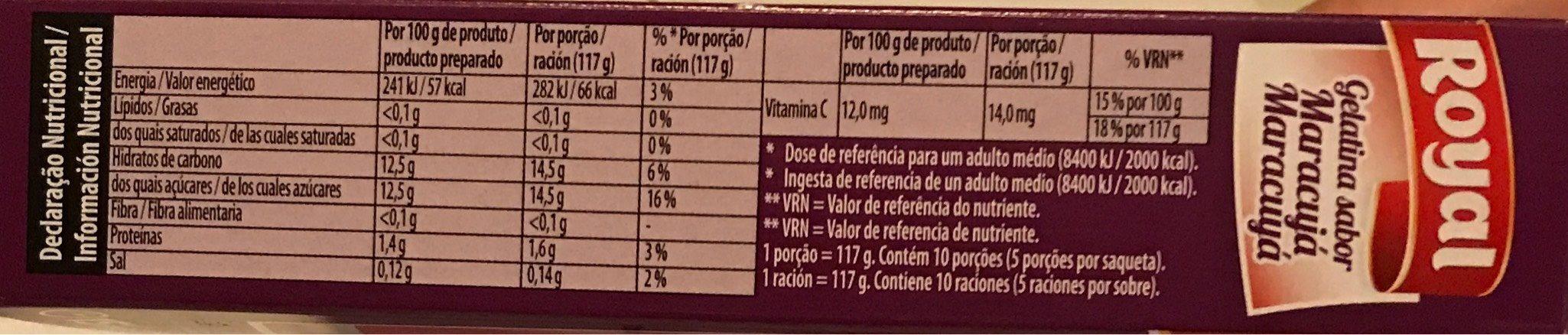 Gelatina Royal Maracuja - Informations nutritionnelles - fr