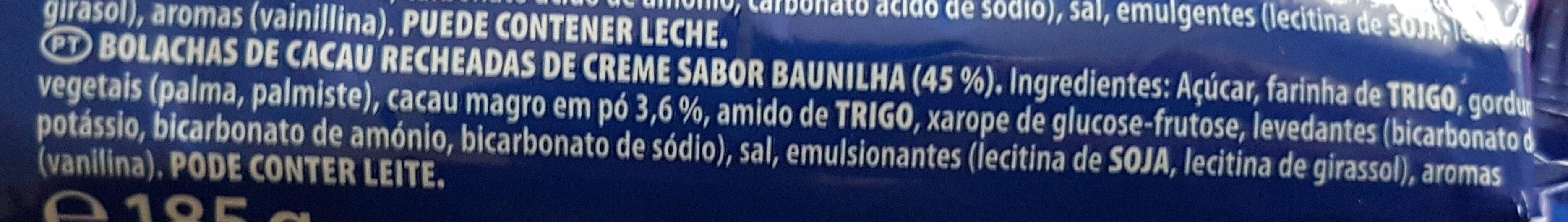 Oreo - Double creme - Ingredientes